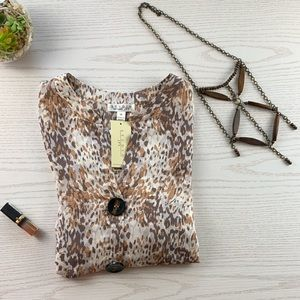 NWT Studio Woman animal print blouse size 1X